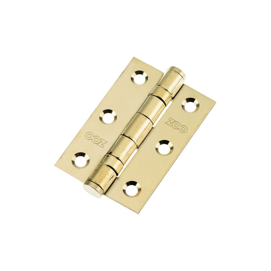 3 Ball Bearing Hinges. Polished Brass